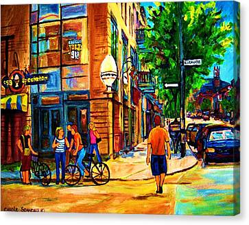 Canvas Print featuring the painting Eggspectation Cafe On Esplanade by Carole Spandau