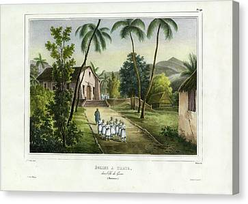 Eglise A Guam Church On Guam Canvas Print by Dumont d Urville de Sainson