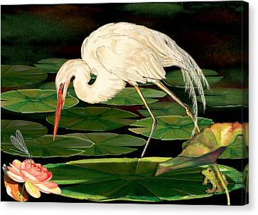 Egret Fishing In Lily Pads Canvas Print by Anne Beverley-Stamps
