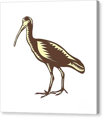 Egret Heron Crane Side Woodcut Canvas Print by Aloysius Patrimonio