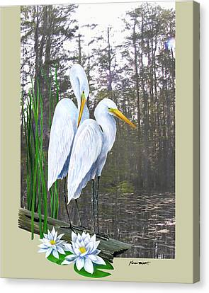 Canvas Print - Egrets And Cypress Pond by Kevin Brant