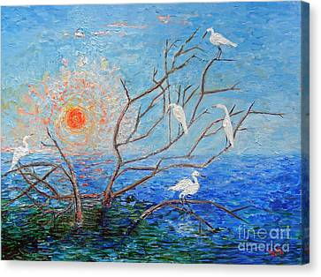 Egrets At Sunrise Canvas Print by Doris Blessington