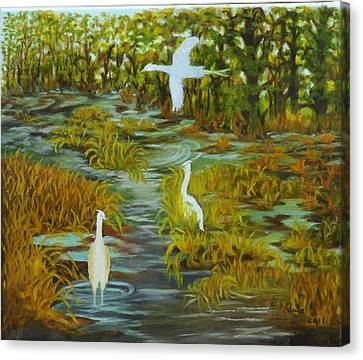 Egrets In The Marsh Canvas Print by Douglas Ann Slusher