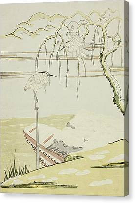 Egrets In The Snow Canvas Print by Suzuki Harunobu