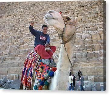 Egypt - Boy With A Camel Canvas Print by Munir Alawi