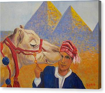 Egyptian Boy With Camel Canvas Print by Lore Rossi