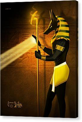 Egyptian God Anubis Canvas Print by John Wills