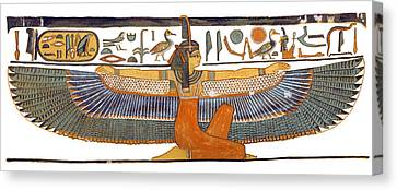 Ancient Egyptian Canvas Print - Egyptian Goddess Maat With Outstretched Wings by Ben  Morales-Correa