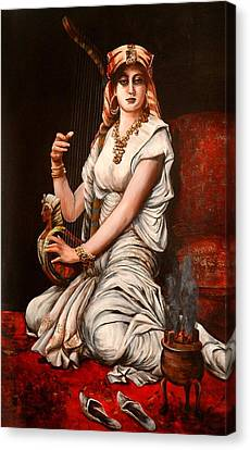 Egyptian Lady With Harp Canvas Print