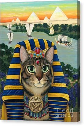 Egyptian Pharaoh Cat - King Of Pentacles Canvas Print