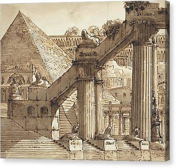 Egyptian Stage Design Canvas Print by Pietro Gonzaga