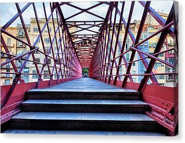 Eiffel Bridge In City Of Girona Canvas Print by Artur Bogacki