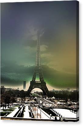 Eiffel Haze Canvas Print by Menucha Citron