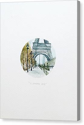 Eiffel In January Canvas Print by Venie Tee
