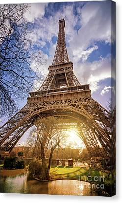 Canvas Print featuring the photograph Eiffel Sunset by Delphimages Photo Creations