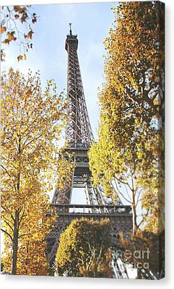 Canvas Print featuring the photograph Eiffel Tower Amidst The Autumn Foliage by Ivy Ho