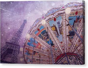 Eiffel Tower And Carousel Canvas Print by Clare Bambers