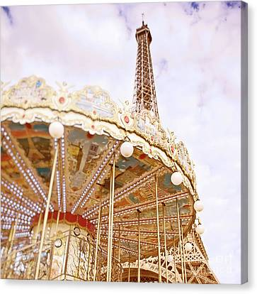 Canvas Print featuring the photograph Eiffel Tower And Carousel by Ivy Ho