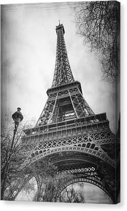 Ironwork Canvas Print - Eiffel Tower And Lamp Post Bw by Joan Carroll