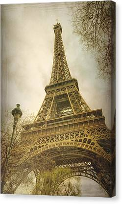 Eiffel Tower And Lamp Post Canvas Print by Joan Carroll