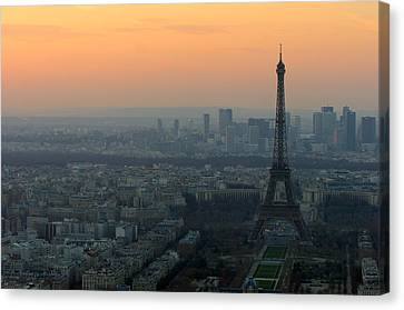 Eiffel Tower At Dusk Canvas Print by Sebastian Musial