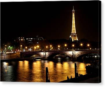 Canvas Print featuring the photograph Eiffel Tower At Night 1 by Andrew Fare