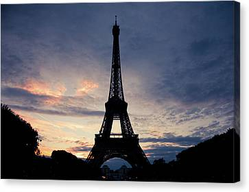 French Culture Canvas Print - Eiffel Tower At Sunset, Paris, France by Photo by rachel kara