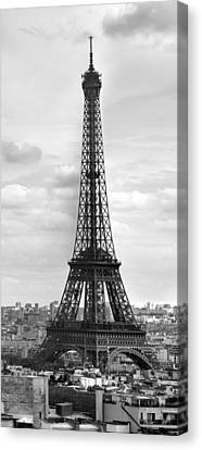 Broadcast Canvas Print - Eiffel Tower Black And White by Melanie Viola