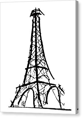 Eiffel Tower Black And White Canvas Print by Robyn Saunders