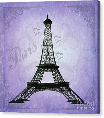 Eiffel Tower Collage Purple Canvas Print by Jim and Emily Bush