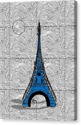 Eiffel Tower Blue Swing Canvas Print