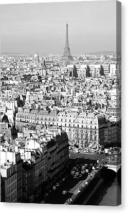 Landmarks Canvas Print - Eiffel Tower From A Distance Paris France Black And White by Shawn O'Brien