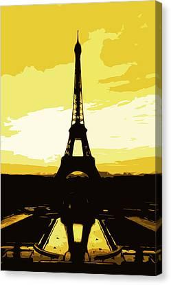 Eiffel Tower In Gold Canvas Print by Nilla Haluska