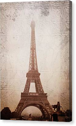 Canvas Print featuring the digital art Eiffel Tower In The Mist by Christina Lihani