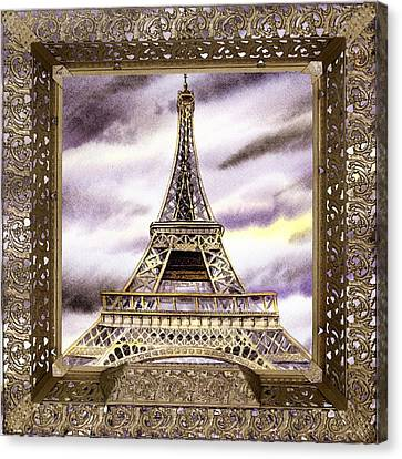 Canvas Print featuring the painting Eiffel Tower Laces Iv  by Irina Sztukowski