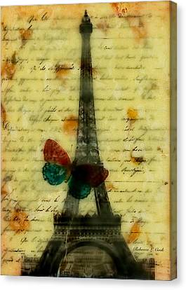 Canvas Print featuring the painting Eiffel Tower Memory Encaustic by Bellesouth Studio