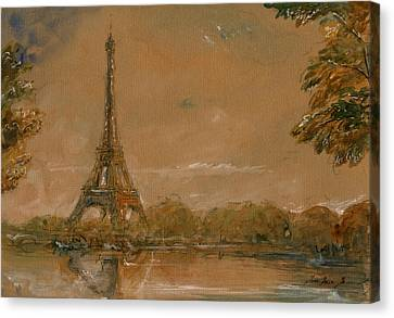 Eiffel Tower Paris Watercolor Canvas Print by Juan  Bosco