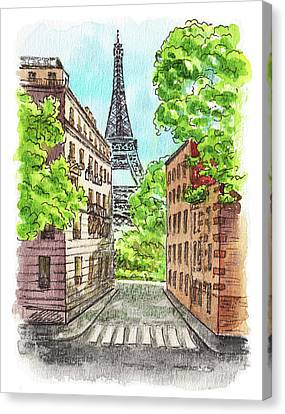 Canvas Print featuring the painting Eiffel Tower Summer Paris Day by Irina Sztukowski