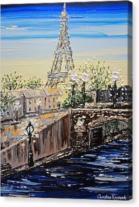 Modern Art Canvas Print - Eiffel Tower Sunset by Christine Krainock