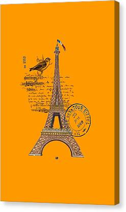 Canvas Print featuring the digital art Eiffel Tower T Shirt Design by Bellesouth Studio