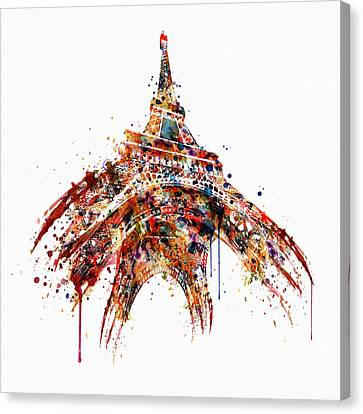 Eiffel Tower Watercolor Canvas Print by Marian Voicu