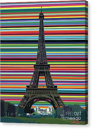 Canvas Print featuring the painting Eiffel Tower With Lines by Carla Bank