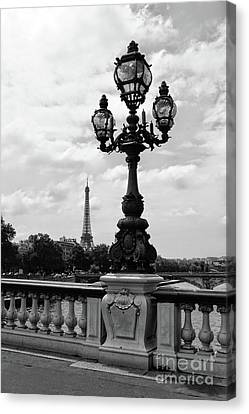Eiffel Tower With Ornate Lamp - Black And White Canvas Print