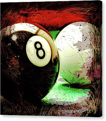 Eight And Cue Ball Canvas Print by David G Paul