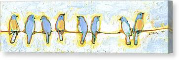 Wire Canvas Print - Eight Little Bluebirds by Jennifer Lommers