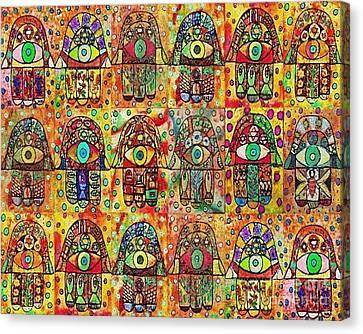-eighteen Vintage Chai Hamsas Canvas Print by Sandra Silberzweig