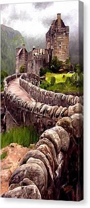 Canvas Print featuring the painting Eilean Donan Castle by James Shepherd