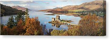 Canvas Print featuring the photograph Eilean Donan Castle Panorama In Autumn by Grant Glendinning