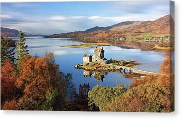 Eilean Donan In Autumn - Dornie Canvas Print by Grant Glendinning