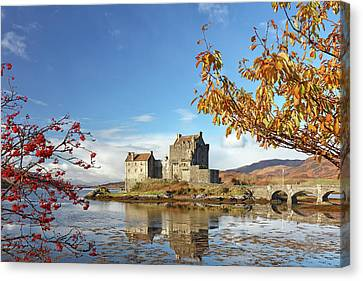 Canvas Print featuring the photograph Eilean Donan In Autumn by Grant Glendinning